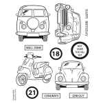 Kanban Clear Unmounted Stamps Set, RETRO 18-21, VW Camper, Beetle etc