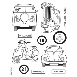 Kanban Clear Unmounted Stamps Set, RETRO 18-21, VW Camper, Beetle etc