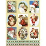 Dufex Foil Quality Stickers CHRISTMAS SANTA & HOLLY BORDERS Vintage traditional Victorian