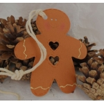 Handcrafted Rustic Gingerbread Man Tag, Strung.  Giftwrap / Decor