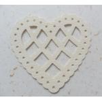 12 Lattice Heart Shapes.  Classic CREAM (Choose Hammer or Linen finish)