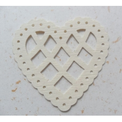 12 Lattice Heart Shapes.  Classic CREAM (Choose Hammer or Linen finish)