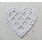 12 Lattice Heart Shapes.  Classic WHITE (Choose Hammer or Linen finish)