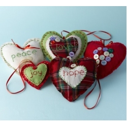WINTER HEARTS Sewing Kit.  Contains all you need to make beautiful Shabby Chic Hearts