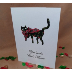 Handcrafted YOU'RE THE CAT'S MIAOW/WHISKERS choice of Words & Bow