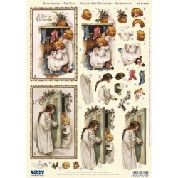3D Die Cut Decoupage Sheet, Victoriana Christmas Children